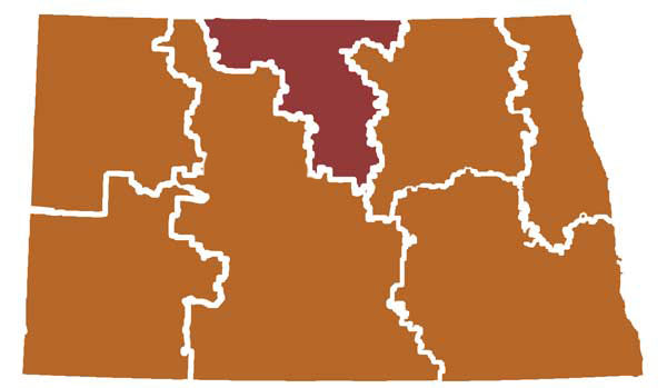 Map of ND showing the regional education agency borders, NCEC region colored darker